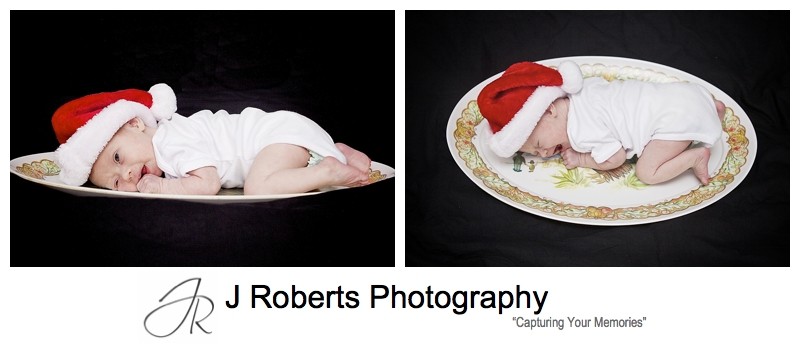 Baby on a christmas turkey platter - sydney baby portrait photography